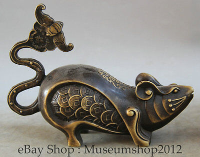 """7"""" Chinese Feng Shui Folk Copper Zodiac Year Mouse Coin Wealth Statue Sculpture"""
