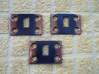 3 Small Brass, NOS Cupboard Lock Catch / Strike Plates, Japanned, Free S/H