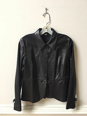 Women's The Wrights Black Leather Single Breasted Jacket Size 6