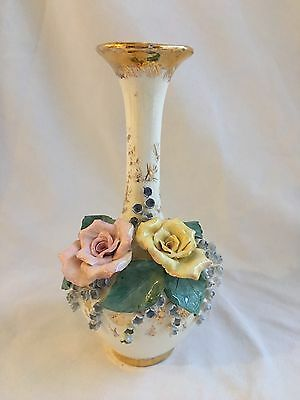 Antique Ivory Porcelain Vase Hand Painted Applied Flowers Gold Signed