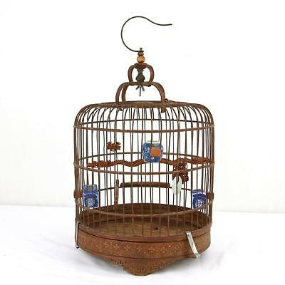 Antique Chinese Birdcage w/ Blue and White Porcelain Bowls 19th C. Wood RARE