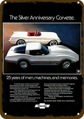 1978 CHEVROLET CORVETTE Silver Anniversary & 1953 Car Vintage Look Metal Sign