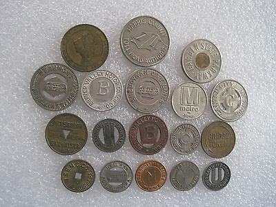 18 Different Transit Transportation Tokens Mixed Sizes & Locations Lot 1C220