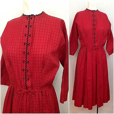 Vintage 1950s Lanz Red & Black Check Fit And Flare Cotton Tie Dress M