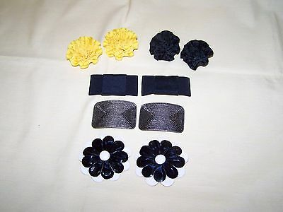 Vintage Shoe Clips 5 Sets made of Grosgrain Ribbon, Metal, Faux Leather