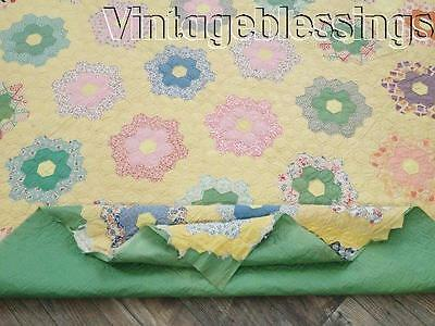"""Quilted, Needs Edge Finished VINTAGE 30s Yellow Flower Garden QUILT 95x72"""""""