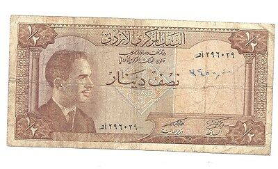 Jordan 1/2 Dinar ND in (F) Condition Banknote P-13a