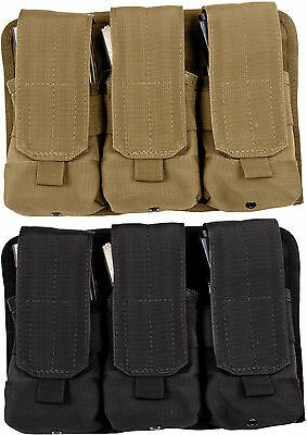 Universal Military M16 Rifle STANAG AK47 Hook & Loop MOLLE Triple Magazine Pouch
