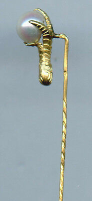 Estate Jewelry 15k Yellow Gold Claw Holding Pearl Stick Pin