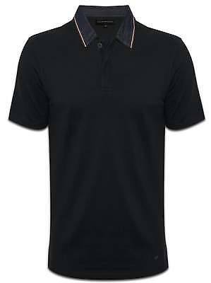 Emporio Armani EA Mens Black Polo Shirt Denim col