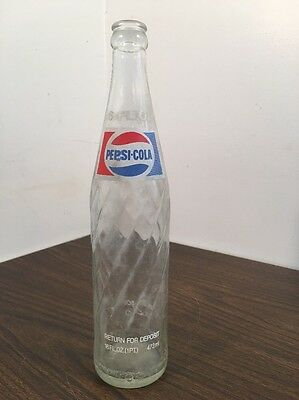 Vintage Pepsi-Cola Bottle Swirl Twisted Clear Glass 16 oz. 1 Pint Soda Pop