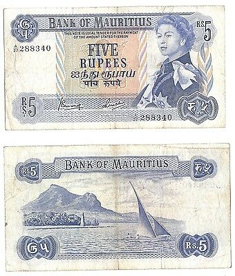 Mauritius 5 Rupees 1967 P-30 in (F-VF) Condition Banknote