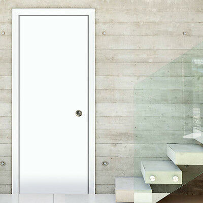 Planum 0010 Interior Sliding Wood Pocket Closet Door White Silk with Frames Pull