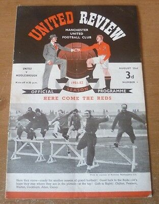 Manchester United (Champions) v Middlesbrough, 1951/52 - Division One Programme.