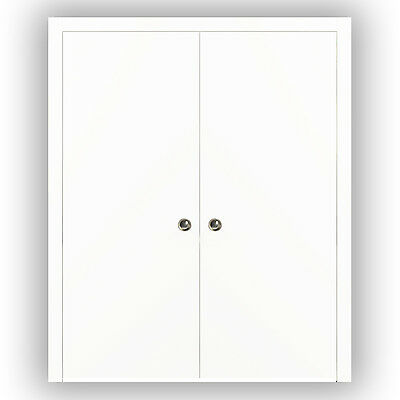 Planum 0010 Interior Sliding Double Pocket Closet Door White Silk with Frames