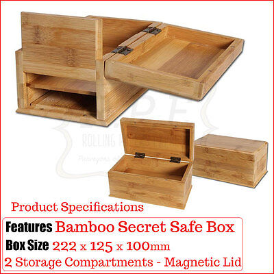 Bamboo Secret Safe Wooden Storage Box - Hidden Compartments - Buy 1 & 2