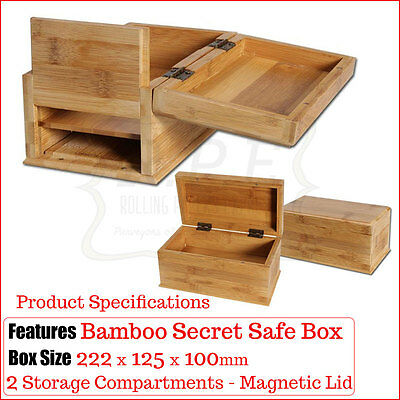 Bamboo Secret Safe Wooden Storage Boxes - Hidden Compartments - Buy 1 & 2