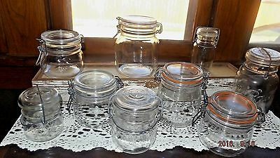 Set Of 9 Vintage Jar's W/Metal Snap Tight Lids, Rustic/Country Candy Buffet