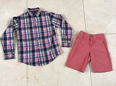 Janie And Jack Boys Long Sleeve Button Down And Shorts Set EUC Size 8