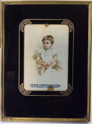 Antique Art Deco Reverse painted glass Picture frame Black Gold 6x8 w trade card