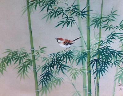 Antique/Vtg Japanese Painting Exquisite~Bird~Sparrow on Bamboo branch Signed