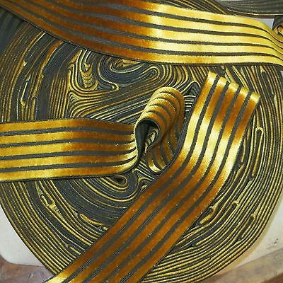 1y VINTAGE SWISS GOLD BLACK VELVET STRIPE BELTING RIBBON ELASTIC STRETCH DRESS