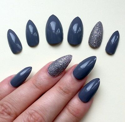 Hand Painted False Nails STILETTO Full Cover. High Gloss Rich Grey & Silver. UK