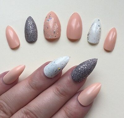 Hand Painted False Nails STILETTO Full Cover Peach Pink & Silver Candy Princess