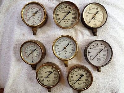 Lot Of 8 Vintage Fire Sprinkler System Water Pressure Gauges