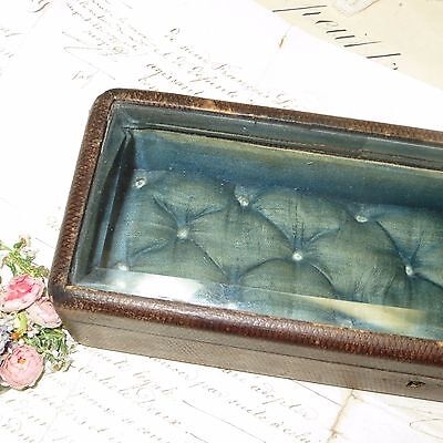 Antique French Bevel Glass Casket Box Tufted Blue Silk Jewelry Case Boudoir Doll