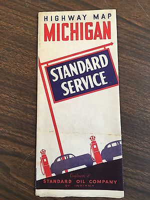 Vintage 1940's Standard Oil Company Highway Map of Michigan