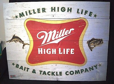 Miller High Life Beer Bait & Tackle Store Wood Advertising Sign Fishing Theme