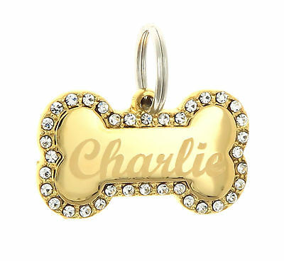 Custom Engraved Personalized Gold Bone Shape w/ CZ Dog Metal Tag Pet ID Name
