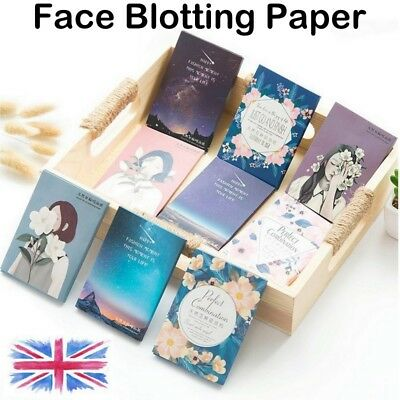 100 Facial Oil Control Sheets Absorbing Tissue Face Skin Blotting Blue Paper