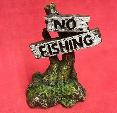 Fish Tank Ornament NO FISHING Tree Stump 3 inch Aquarium Bowl Decoration Aquatic