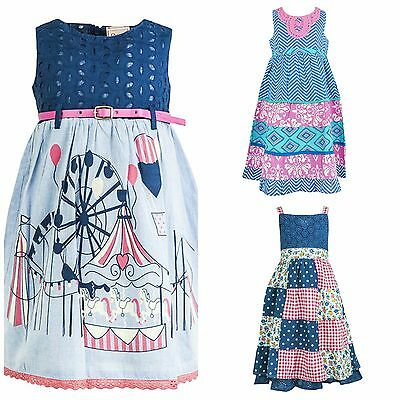 Girls Baby Dresses CHLOE LOUISE Designer Fairground Party Dress Blue Age 1-7 New