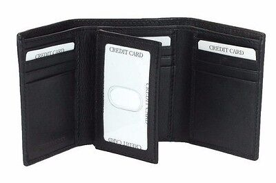 Men's Leather RFID Blocking Trifold Wallet Card Security With ID Flip Black