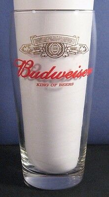 Budweiser Pint Beer Glass With Gold Leaf And Red Logo - Brand New