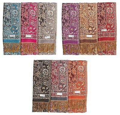 100% PASHMINA Wholesale Lot of 12 NEW Soft Shawl Scarf Stole Wrap Fashion Women