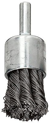 Weiler Wire End Brush, Hollow End, Round Shank, Steel, Partial Twist Knotted, of