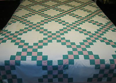 Vintage Antique Irish Chain cotton quilt top queen size 80 x 87 Hand Stitched