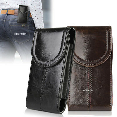 Vertical Genuine Leather Case Cover Pouch Holster Belt Clip For Iphone Samsung