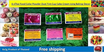 Good price 6xThai Food Color Powder Dust Tint Cup Cake Cream Icing Baking Decor.