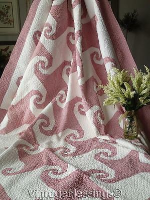 """Beautiful! Densely Quilted ANTIQUE  c1920-30s Red White QUILT 87x68"""""""