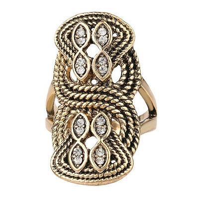 Ancient Rope Style Midi Ring Cubic Zirconia Marquise Shaped Statement Ring Hot!
