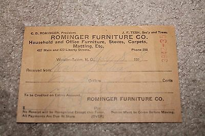 1918 Rominger Furniture Co Household and Office Furniture Stoves Carpets Receipt