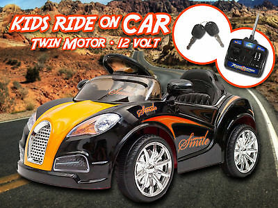Kids Ride On Car Bugatti Style 60W Motor 12V Rechargeable 2 Speed Remote White