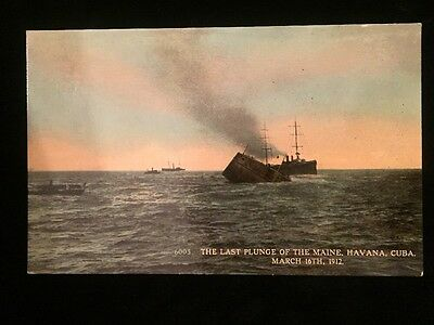 Antique Early 1900s Postcard Sinking Of The Maine Ship Cuba