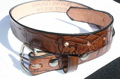 Personalized Solid Leather Belts - Kid - waist size 14 inch - Brown Deer