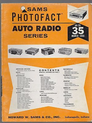 Sams Photofact-Auto Radio Manual Series # AR-35  March 1966~First Edition